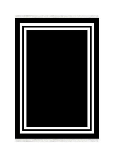 Belemir Belemir K391 Çerçeve Siyah Beyaz Siyah Beyaz Dekoratif Yıkanabilir Halı Renkli